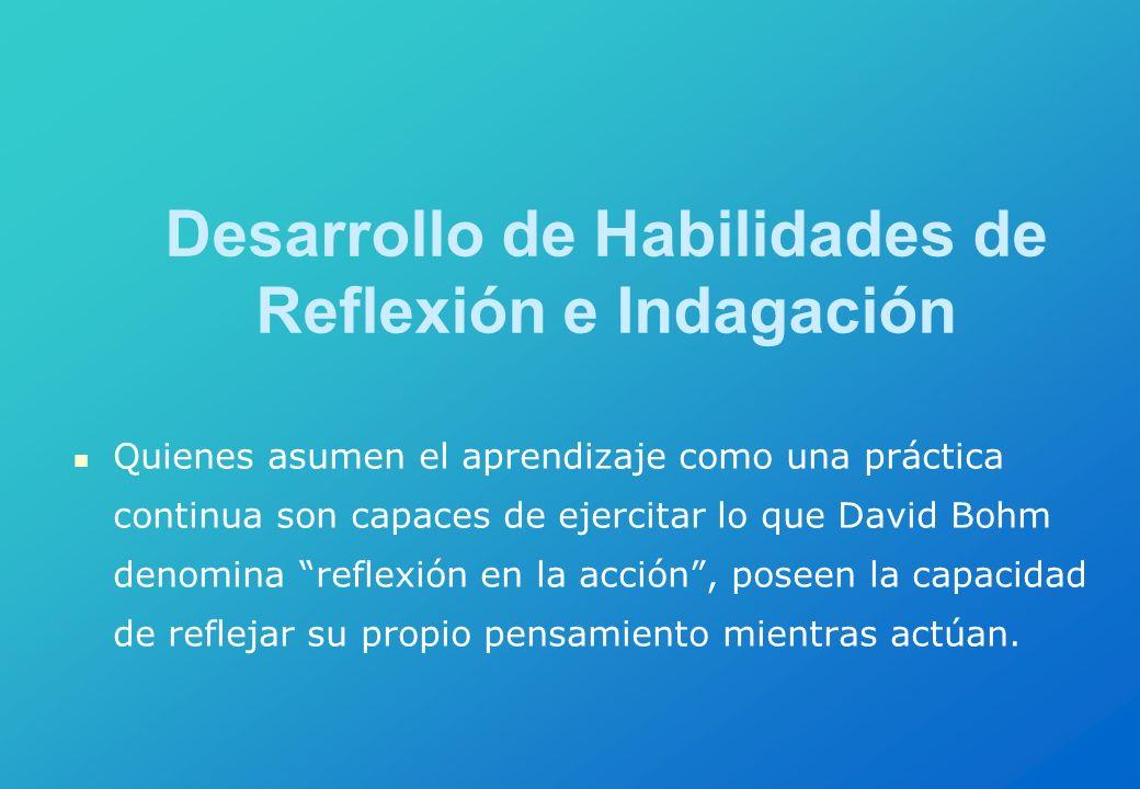 Desarrollo de Habilidades de Reflexión e Indagación Quienes asumen el aprendizaje como una práctica continua son capaces de ejercitar lo que David Boh