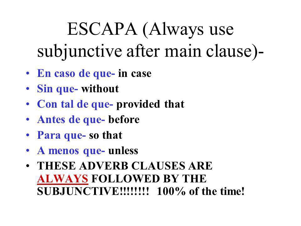 El subjuntivo con más cláusulas adverbials con eventos anticipados *Las conjugaciones adverbials a contuación requieren el subjuntivo si en el momento de hablar se anticipa el evento de la cláusula subordinada: What.