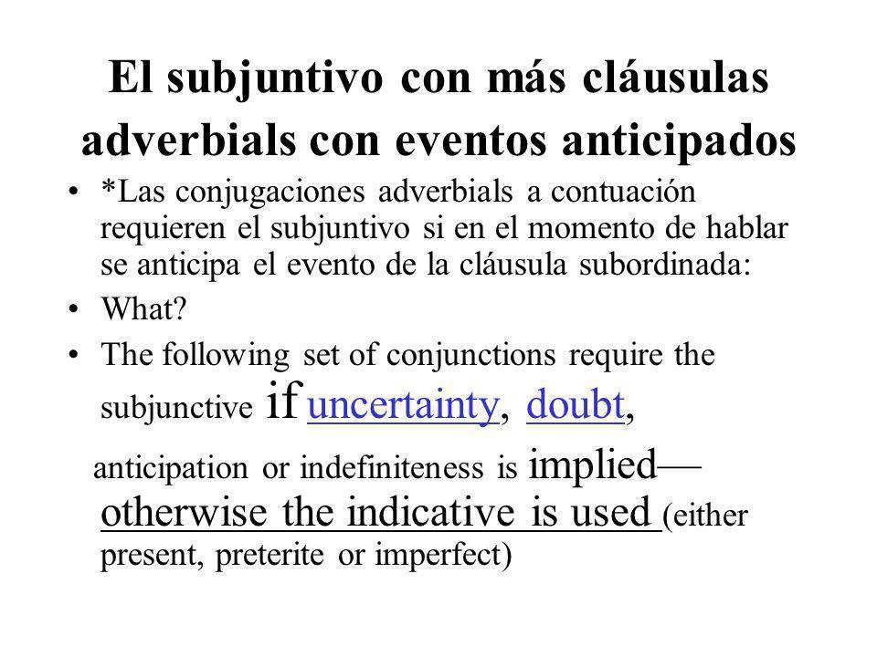 El subjuntivo con más cláusulas adverbials con eventos anticipados *Las conjugaciones adverbials a contuación requieren el subjuntivo si en el momento