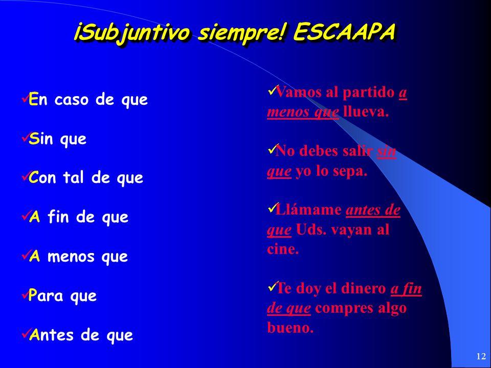 11 Las Expresiones Impersonales: 1. Requieren el uso del subjuntivo: es necesario, es preciso, es menester, es posible, es imposible, es probable, es