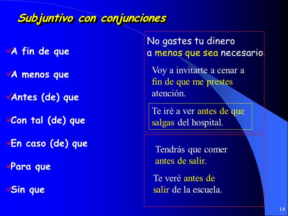 13 ¡¡¡Recuerden!!! Subjuntivo con lo desconocido usandolos verbos: querer, buscar necesitar, etc. Busco un apartamento que tenga dos baños. No hay una