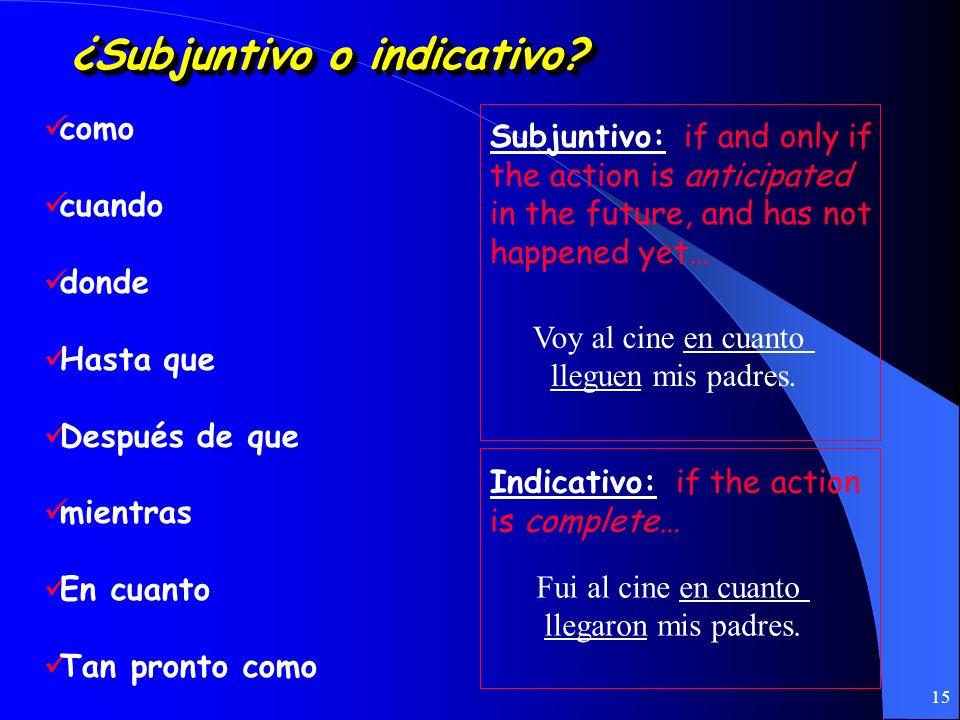 14 Subjuntivo con conjunciones A fin de que A menos que Antes (de) que Con tal (de) que En caso (de) que Para que Sin que No gastes tu dinero a menos