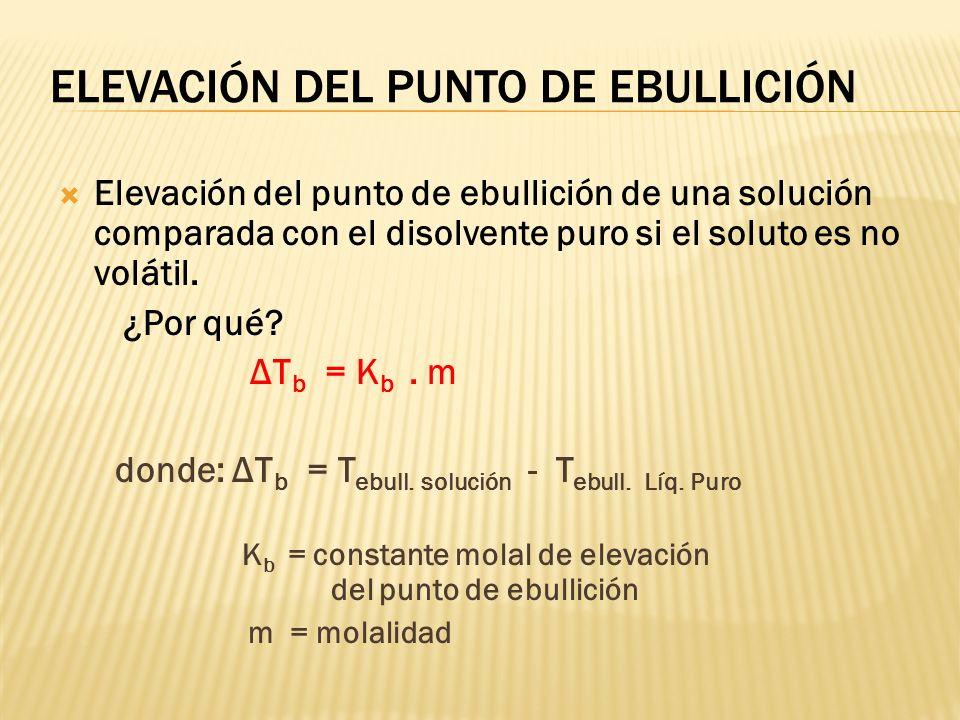 Si los componentes de la solución son volátiles: la presión de vapor de la solución será igual a la suma de las presiones parciales de cada componente
