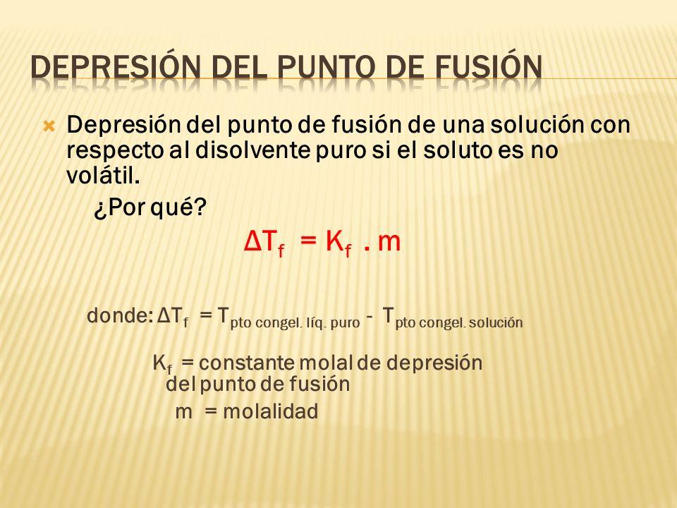 ELEVACIÓN DEL PUNTO DE EBULLICIÓN Elevación del punto de ebullición de una solución comparada con el disolvente puro si el soluto es no volátil. ¿Por
