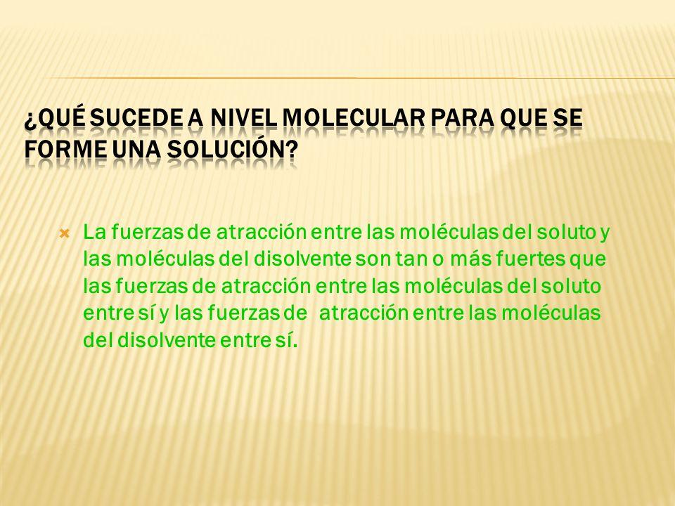 Solución - Mezcla homogénea soluto – componente de la solución que se encuentra presente en menor cantidad. disolvente - componente de la solución que