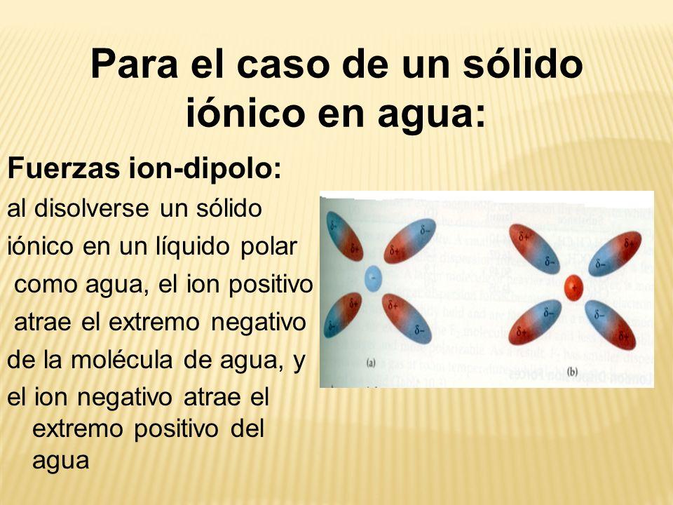 Fuerzas ion-dipolo: al disolverse un sólido iónico en un líquido polar como agua, el ion positivo atrae el extremo negativo de la molécula de agua, y el ion negativo atrae el extremo positivo del agua Para el caso de un sólido iónico en agua: