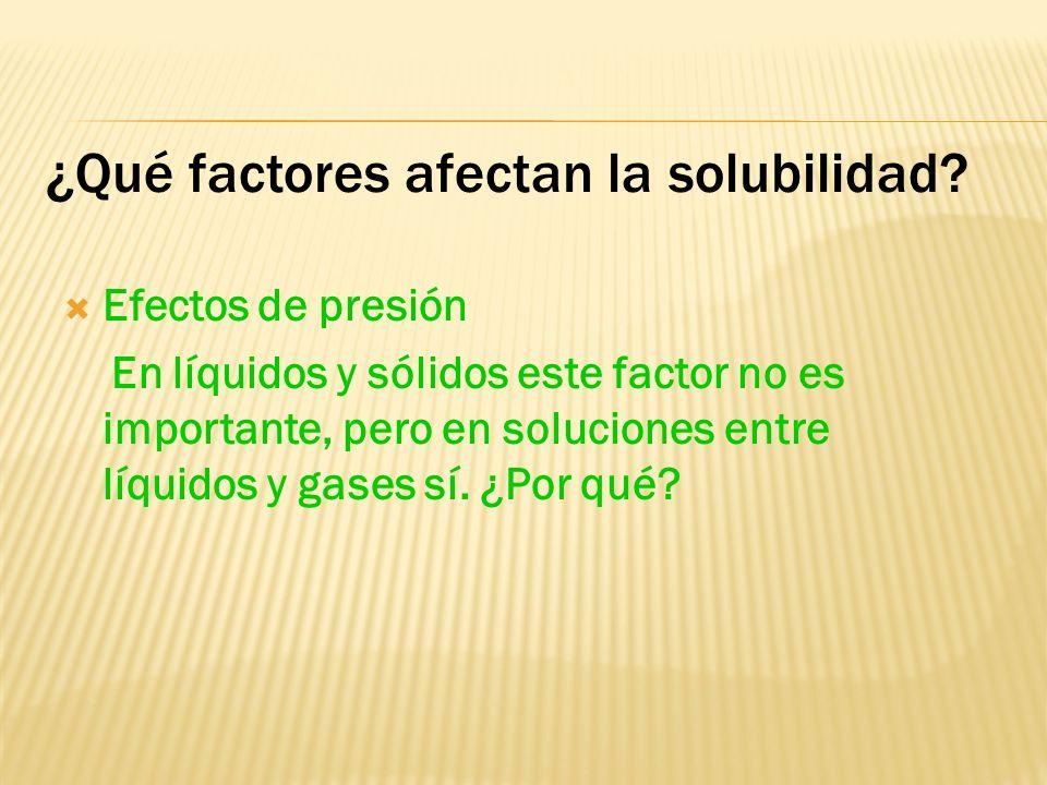 ¿Qué factores afectan la solubilidad? Interacciones soluto-disolvente Si las fuerzas intermoleculares en el soluto y las fuerzas intermoleculares en e