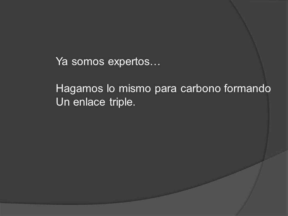 Ya somos expertos… Hagamos lo mismo para carbono formando Un enlace triple.
