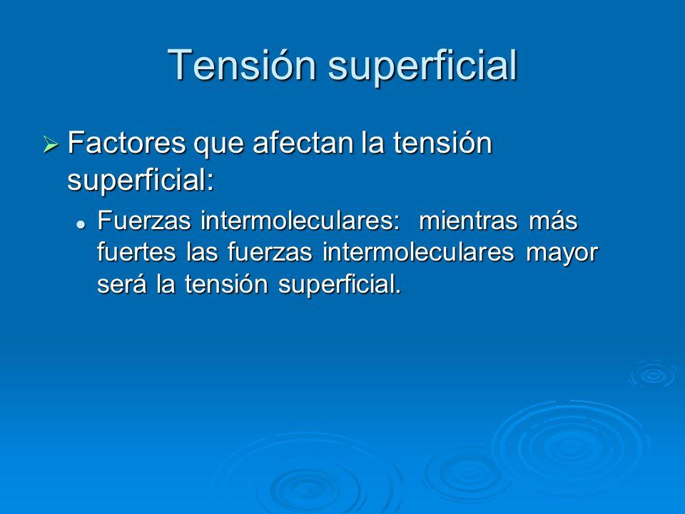 Tensión superficial Factores que afectan la tensión superficial: Factores que afectan la tensión superficial: Fuerzas intermoleculares: mientras más f