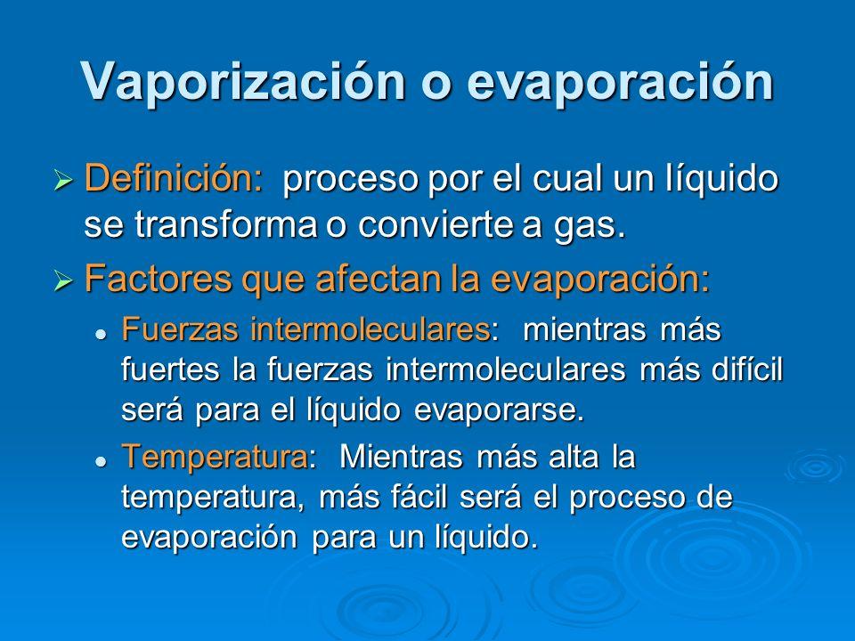 Vaporización o evaporación Definición: proceso por el cual un líquido se transforma o convierte a gas. Definición: proceso por el cual un líquido se t
