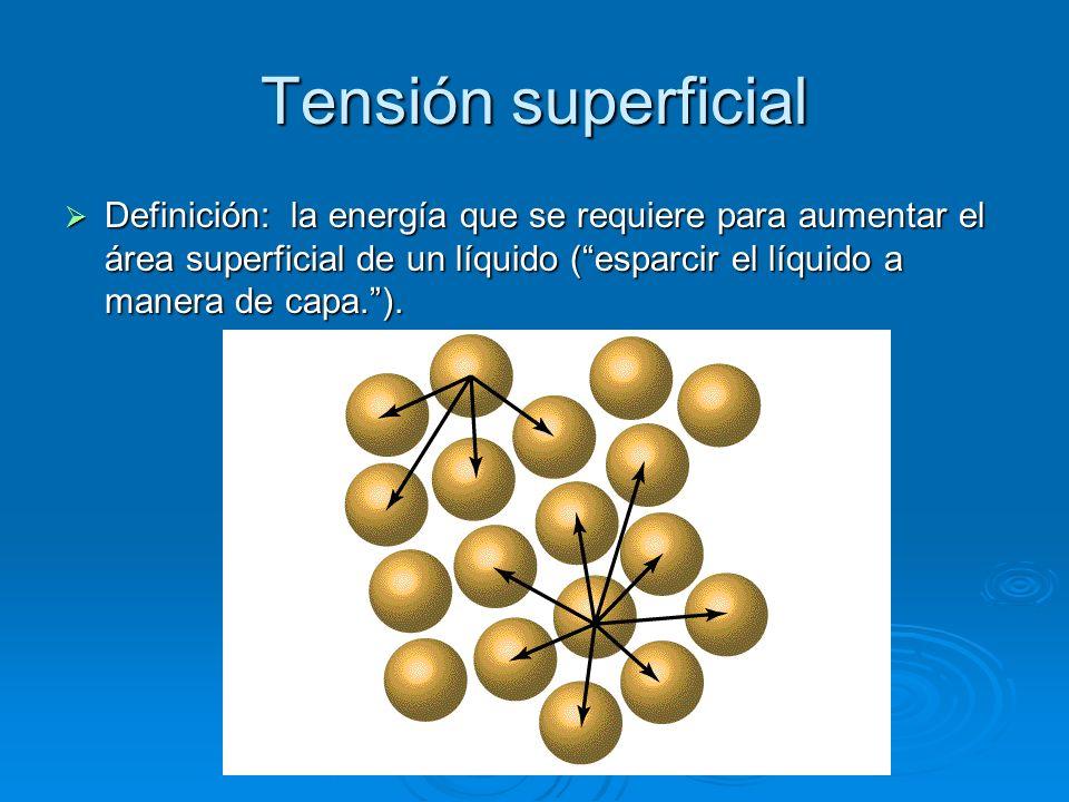 Tensión superficial Definición: la energía que se requiere para aumentar el área superficial de un líquido (esparcir el líquido a manera de capa.). De