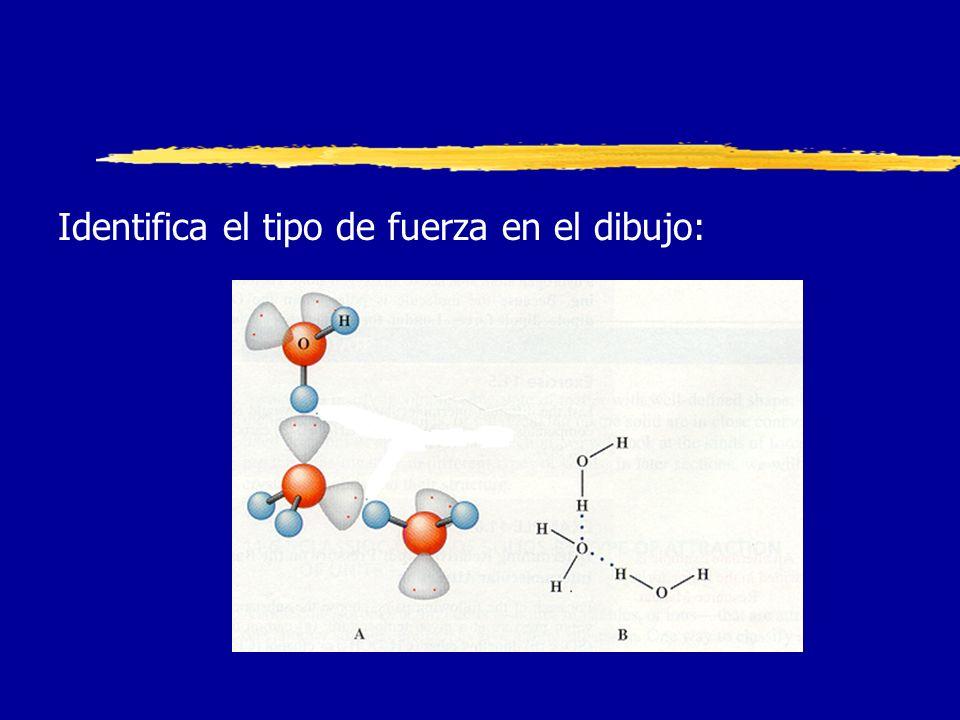 Fuerzas Intermoleculares Identifica el tipo de fuerza en el dibujo: