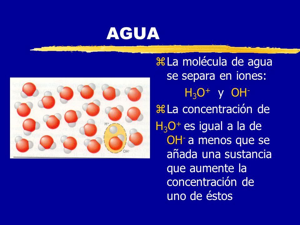 AGUA zGeometría angular zMolécula polar zForma puentes de Hidrógeno z Resistente a cambios de estado (gas- líquido-sólido) zFuerzas cohesivas y adhesi
