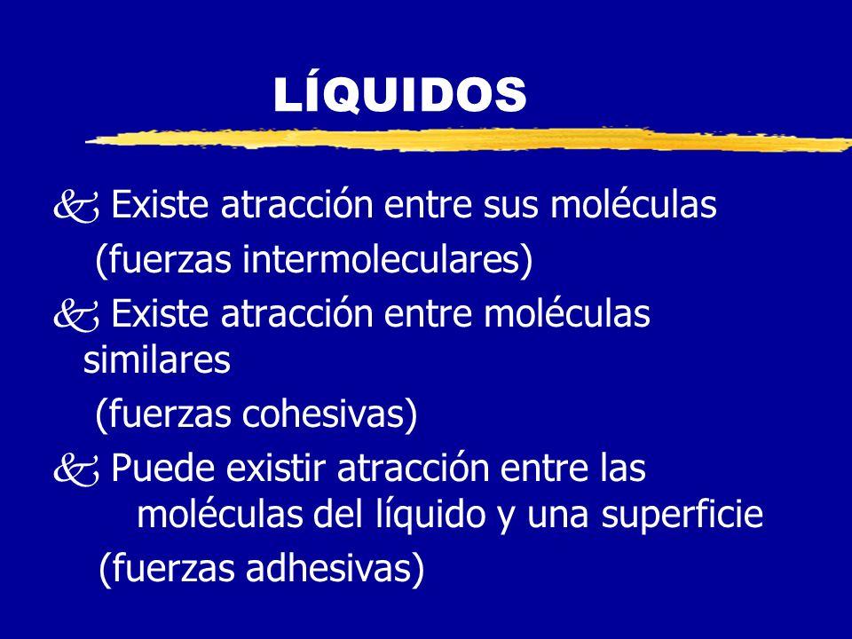 LÍQUIDOS k Existe atracción entre sus moléculas (fuerzas intermoleculares) k Existe atracción entre moléculas similares (fuerzas cohesivas) k Puede existir atracción entre las moléculas del líquido y una superficie (fuerzas adhesivas)