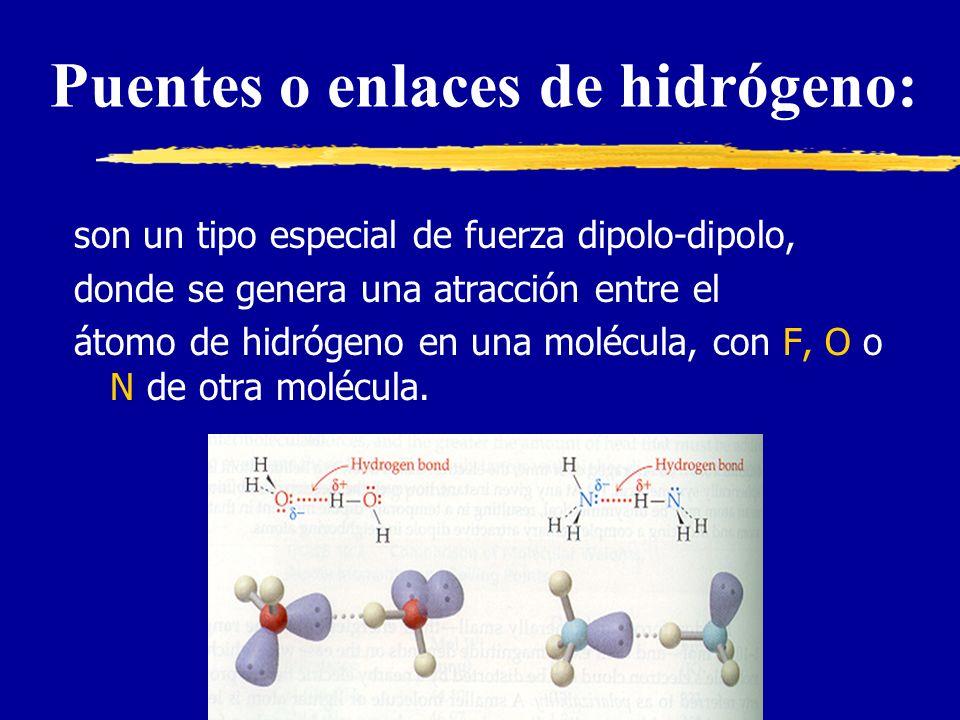 son un tipo especial de fuerza dipolo-dipolo, donde se genera una atracción entre el átomo de hidrógeno en una molécula, con F, O o N de otra molécula.