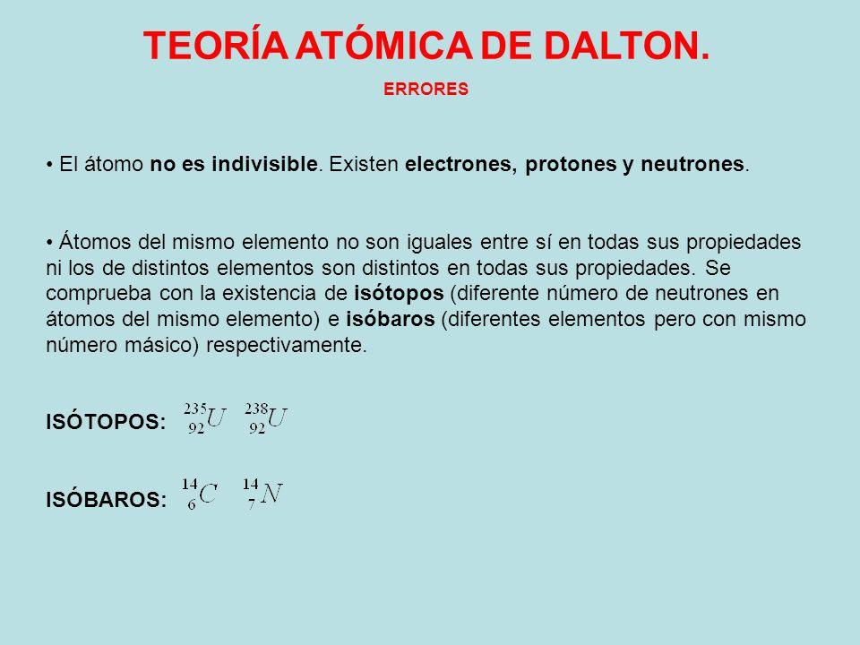 TEORÍA ATÓMICA DE DALTON. ERRORES El átomo no es indivisible. Existen electrones, protones y neutrones. Átomos del mismo elemento no son iguales entre