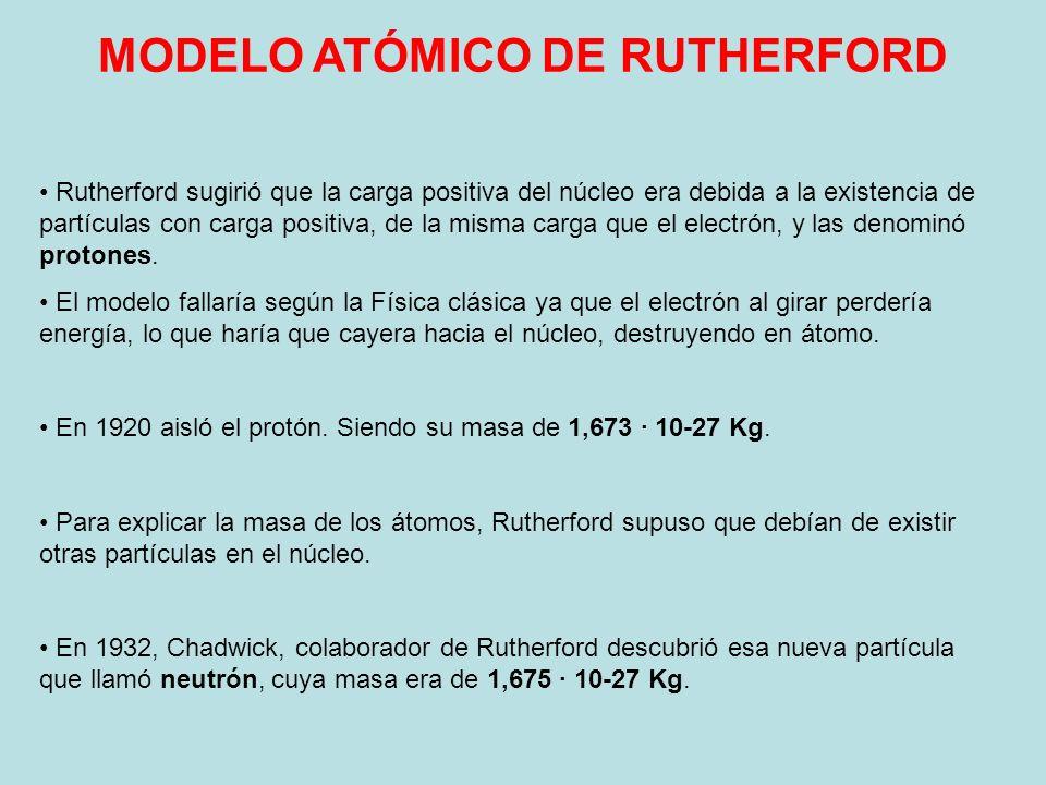Rutherford sugirió que la carga positiva del núcleo era debida a la existencia de partículas con carga positiva, de la misma carga que el electrón, y
