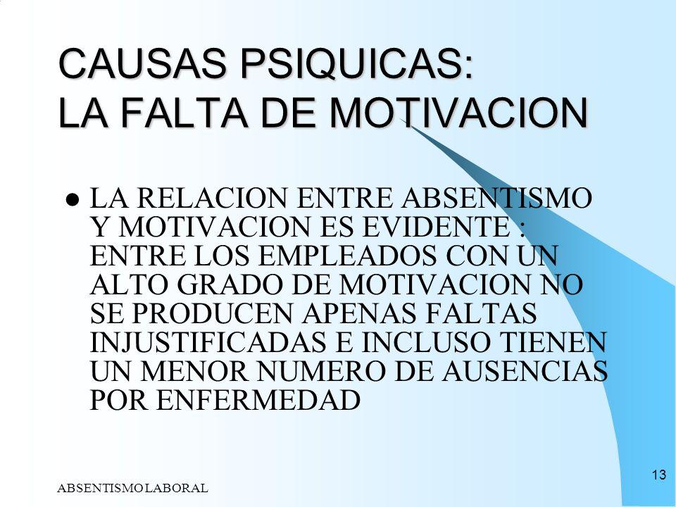 ABSENTISMO LABORAL 13 CAUSAS PSIQUICAS: LA FALTA DE MOTIVACION LA RELACION ENTRE ABSENTISMO Y MOTIVACION ES EVIDENTE : ENTRE LOS EMPLEADOS CON UN ALTO