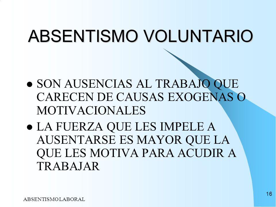 ABSENTISMO LABORAL 16 ABSENTISMO VOLUNTARIO ABSENTISMO VOLUNTARIO SON AUSENCIAS AL TRABAJO QUE CARECEN DE CAUSAS EXOGENAS O MOTIVACIONALES LA FUERZA Q