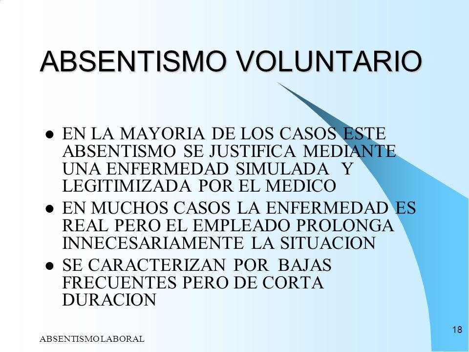 ABSENTISMO LABORAL 18 ABSENTISMO VOLUNTARIO EN LA MAYORIA DE LOS CASOS ESTE ABSENTISMO SE JUSTIFICA MEDIANTE UNA ENFERMEDAD SIMULADA Y LEGITIMIZADA PO