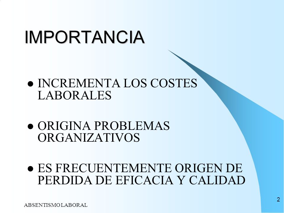 ABSENTISMO LABORAL 23 INDICES DEL ABSENTISMO LABORAL I INDICE DE ABSENTISMO MOMENTANEO:NUMERO DE AUSENCIAS EN UN DETERMINADO MOMENTO, RESPECTO DEL NUMERO DE TRABAJADORES EN ESTUDIO MULTIPLICADO POR CIEN