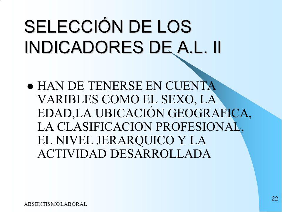 ABSENTISMO LABORAL 22 SELECCIÓN DE LOS INDICADORES DE A.L. II HAN DE TENERSE EN CUENTA VARIBLES COMO EL SEXO, LA EDAD,LA UBICACIÓN GEOGRAFICA, LA CLAS