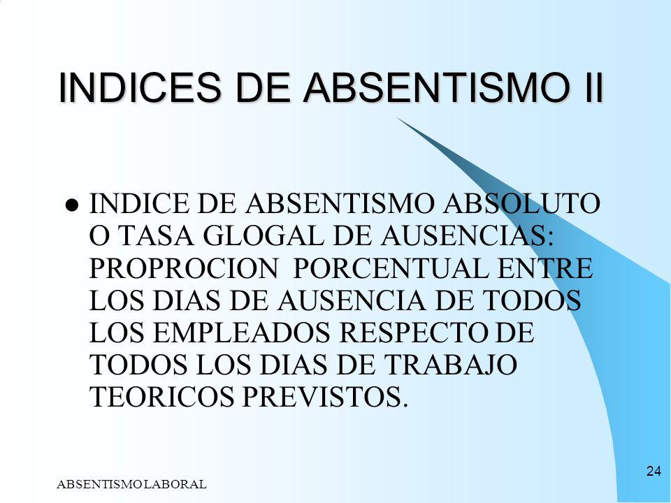 ABSENTISMO LABORAL 24 INDICES DE ABSENTISMO II INDICE DE ABSENTISMO ABSOLUTO O TASA GLOGAL DE AUSENCIAS: PROPROCION PORCENTUAL ENTRE LOS DIAS DE AUSEN