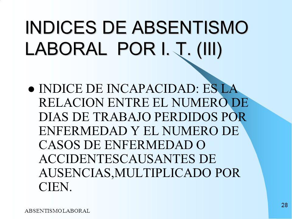 ABSENTISMO LABORAL 28 INDICES DE ABSENTISMO LABORAL POR I. T. (III) INDICE DE INCAPACIDAD: ES LA RELACION ENTRE EL NUMERO DE DIAS DE TRABAJO PERDIDOS
