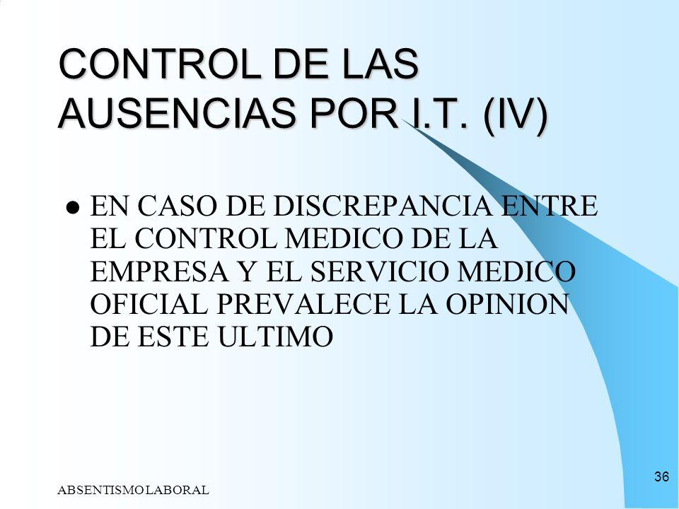 ABSENTISMO LABORAL 36 CONTROL DE LAS AUSENCIAS POR I.T. (IV) EN CASO DE DISCREPANCIA ENTRE EL CONTROL MEDICO DE LA EMPRESA Y EL SERVICIO MEDICO OFICIA