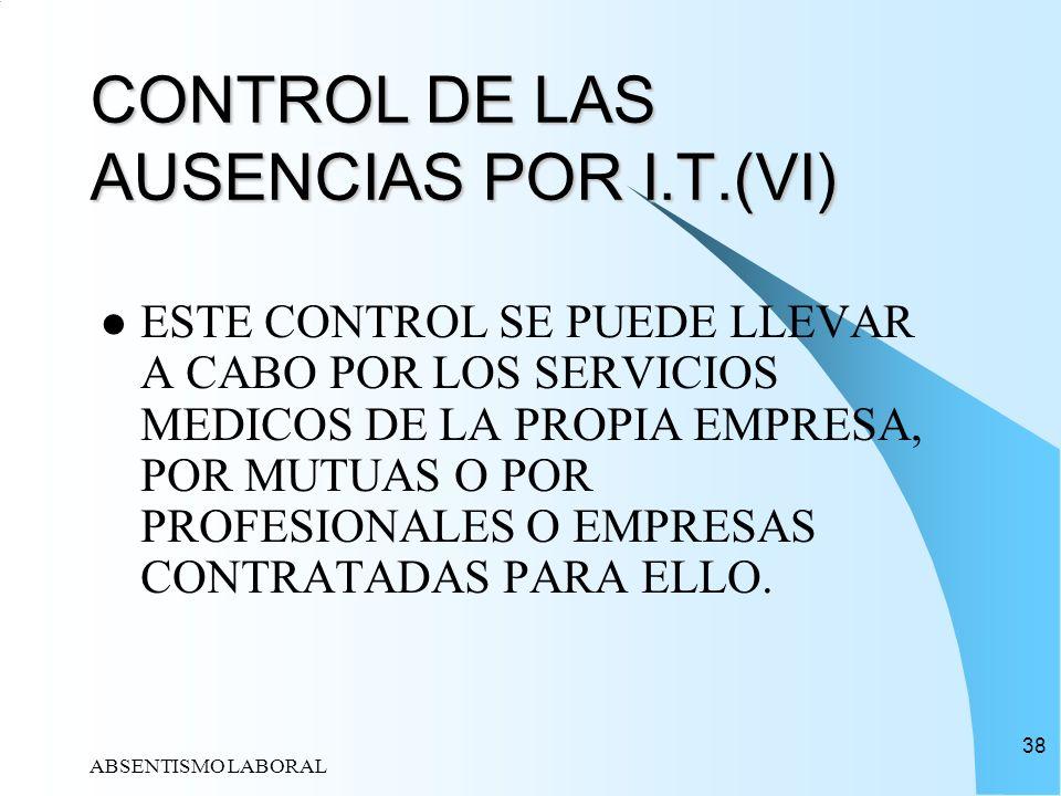 ABSENTISMO LABORAL 38 CONTROL DE LAS AUSENCIAS POR I.T.(VI) ESTE CONTROL SE PUEDE LLEVAR A CABO POR LOS SERVICIOS MEDICOS DE LA PROPIA EMPRESA, POR MU