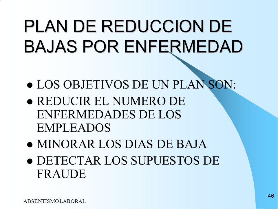 ABSENTISMO LABORAL 46 PLAN DE REDUCCION DE BAJAS POR ENFERMEDAD LOS OBJETIVOS DE UN PLAN SON: REDUCIR EL NUMERO DE ENFERMEDADES DE LOS EMPLEADOS MINOR