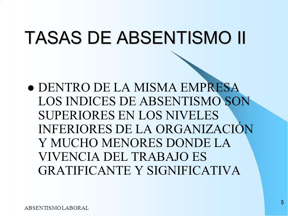 ABSENTISMO LABORAL 5 TASAS DE ABSENTISMO II DENTRO DE LA MISMA EMPRESA LOS INDICES DE ABSENTISMO SON SUPERIORES EN LOS NIVELES INFERIORES DE LA ORGANI