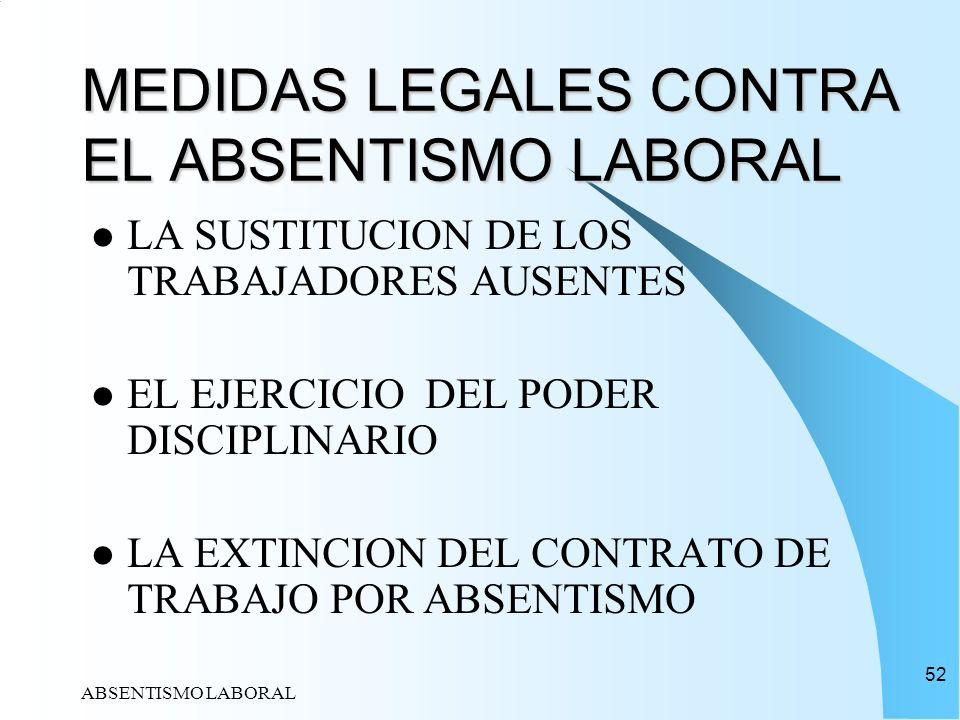 ABSENTISMO LABORAL 52 MEDIDAS LEGALES CONTRA EL ABSENTISMO LABORAL LA SUSTITUCION DE LOS TRABAJADORES AUSENTES EL EJERCICIO DEL PODER DISCIPLINARIO LA