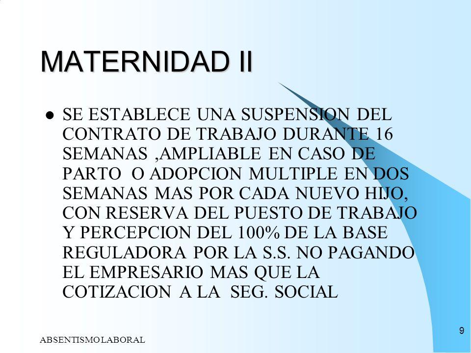 ABSENTISMO LABORAL 9 MATERNIDAD II SE ESTABLECE UNA SUSPENSION DEL CONTRATO DE TRABAJO DURANTE 16 SEMANAS,AMPLIABLE EN CASO DE PARTO O ADOPCION MULTIP
