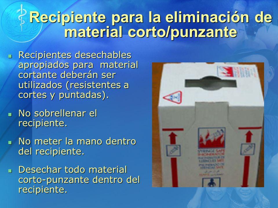 Recipiente para la eliminación de material corto/punzante Recipientes desechables apropiados para material cortante deberán ser utilizados (resistente