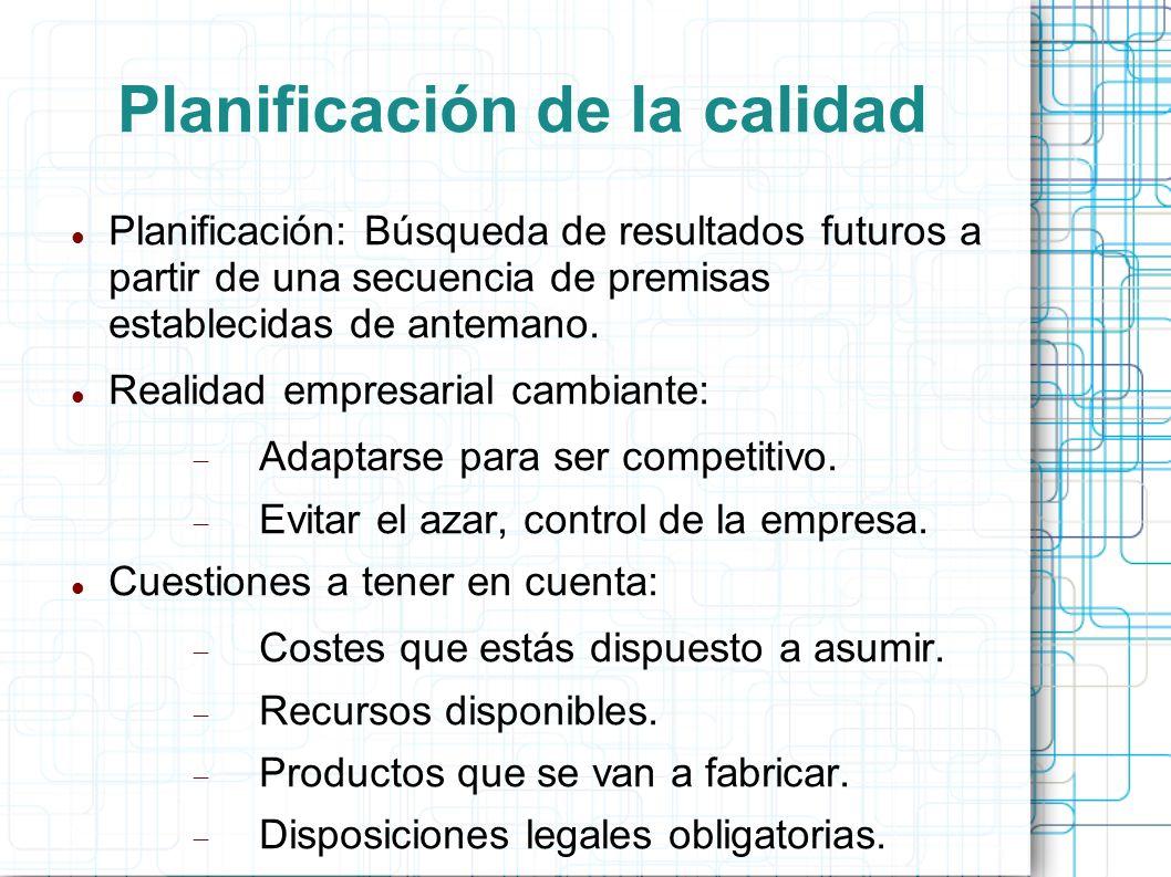 Planificación de la calidad Planificación: Búsqueda de resultados futuros a partir de una secuencia de premisas establecidas de antemano.