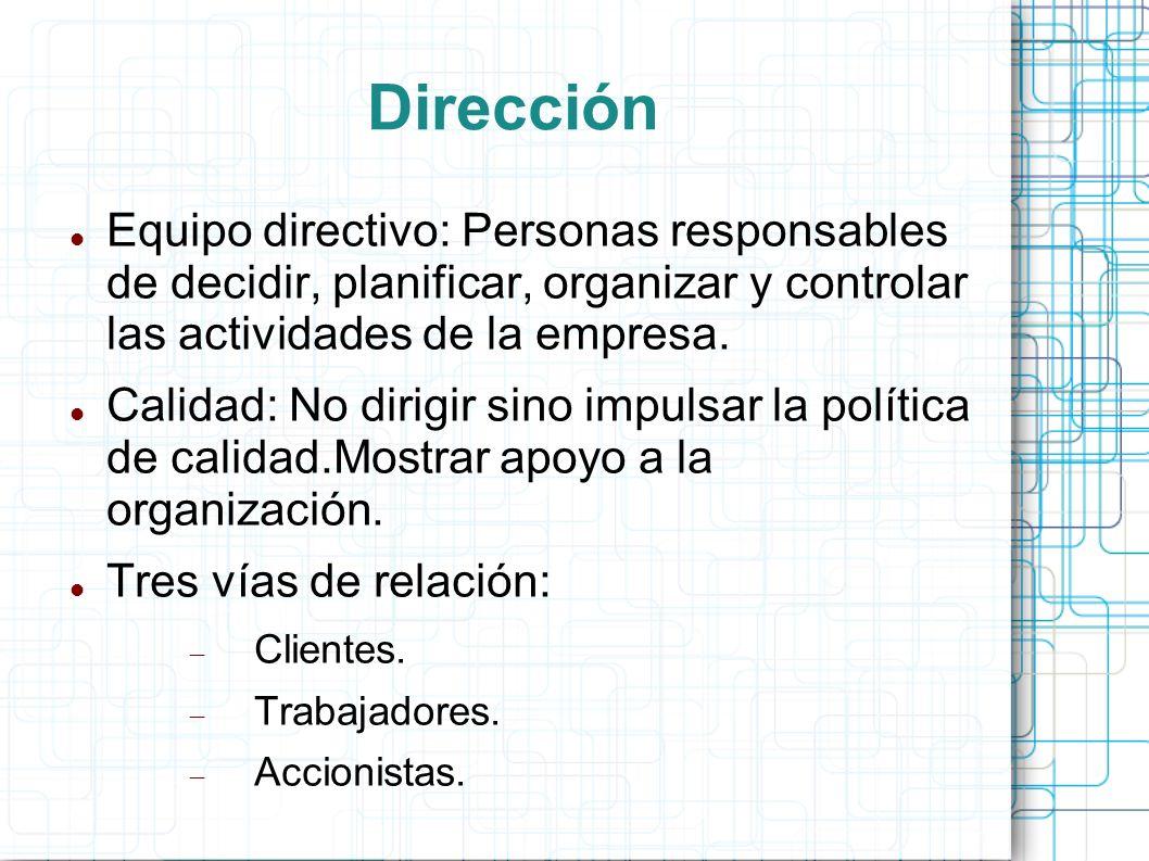 Dirección Equipo directivo: Personas responsables de decidir, planificar, organizar y controlar las actividades de la empresa.
