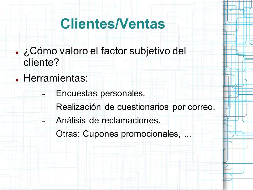 Clientes/Ventas ¿Cómo valoro el factor subjetivo del cliente.