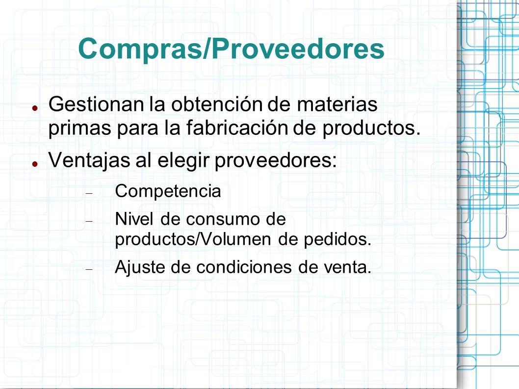 Compras/Proveedores Gestionan la obtención de materias primas para la fabricación de productos.