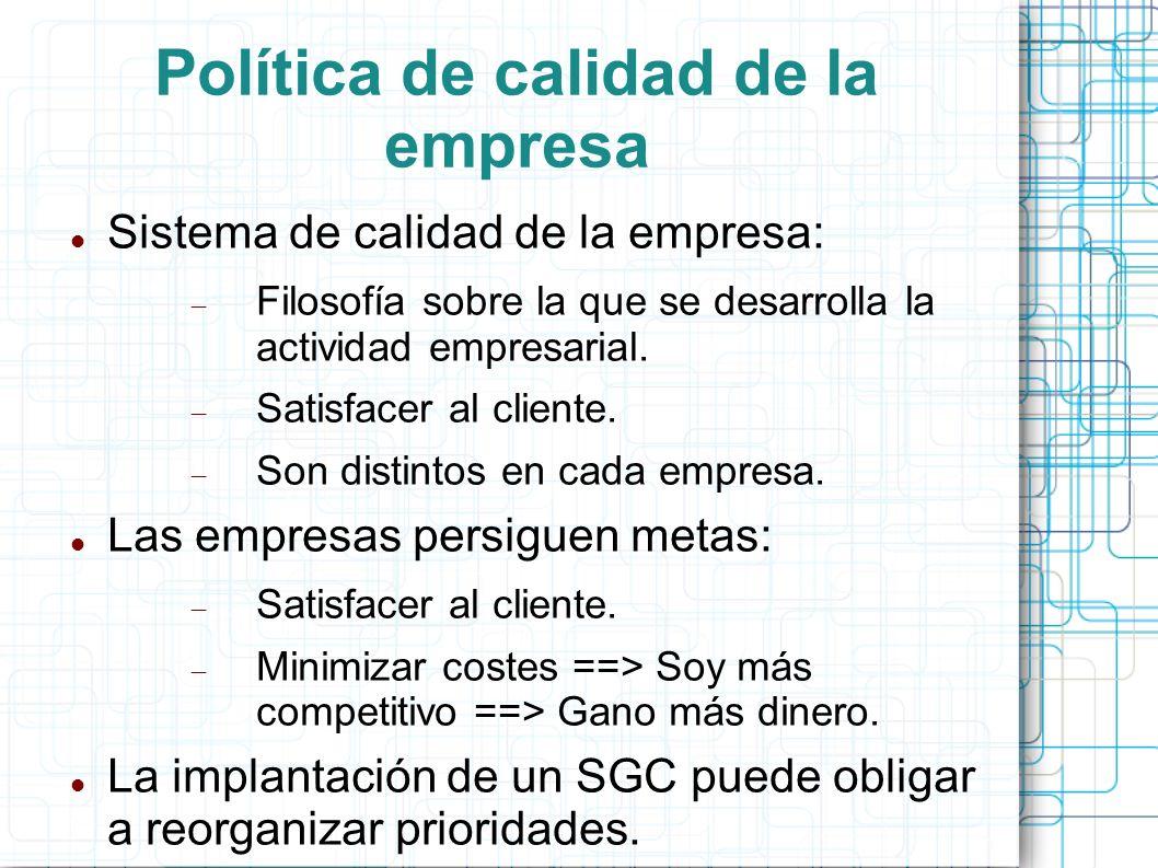 Política de calidad de la empresa Sistema de calidad de la empresa: Filosofía sobre la que se desarrolla la actividad empresarial.