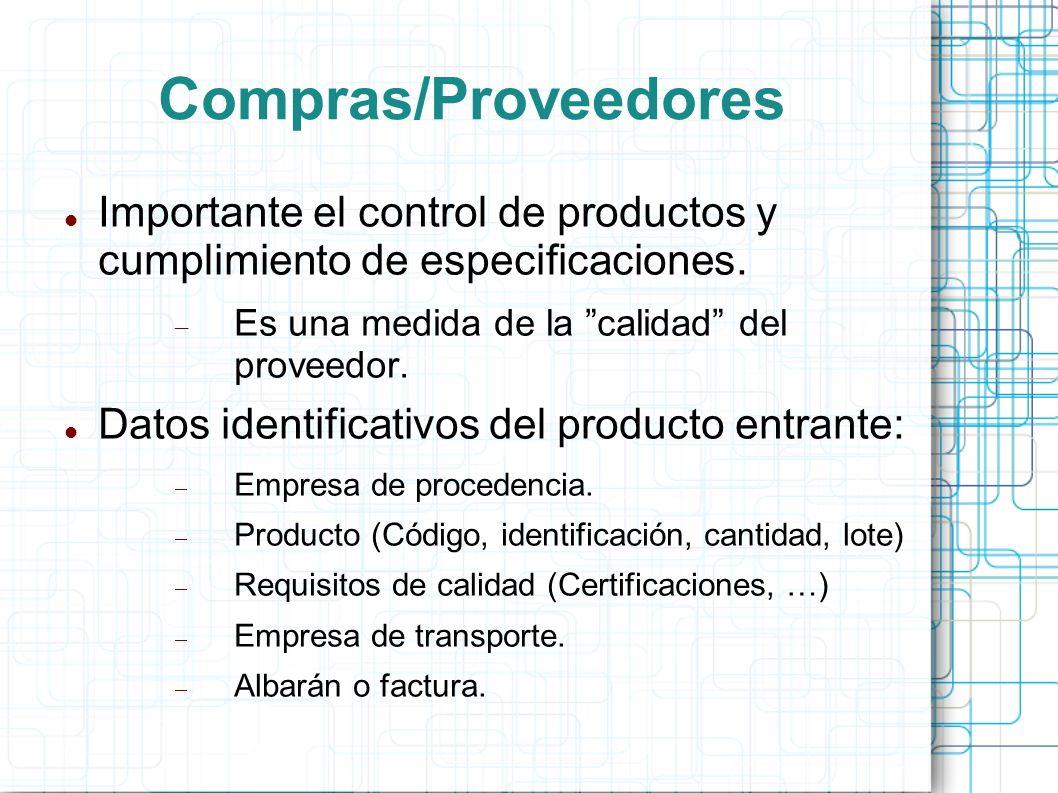 Compras/Proveedores Importante el control de productos y cumplimiento de especificaciones.