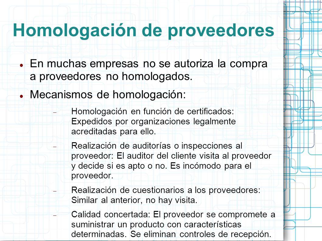 Homologación de proveedores En muchas empresas no se autoriza la compra a proveedores no homologados.