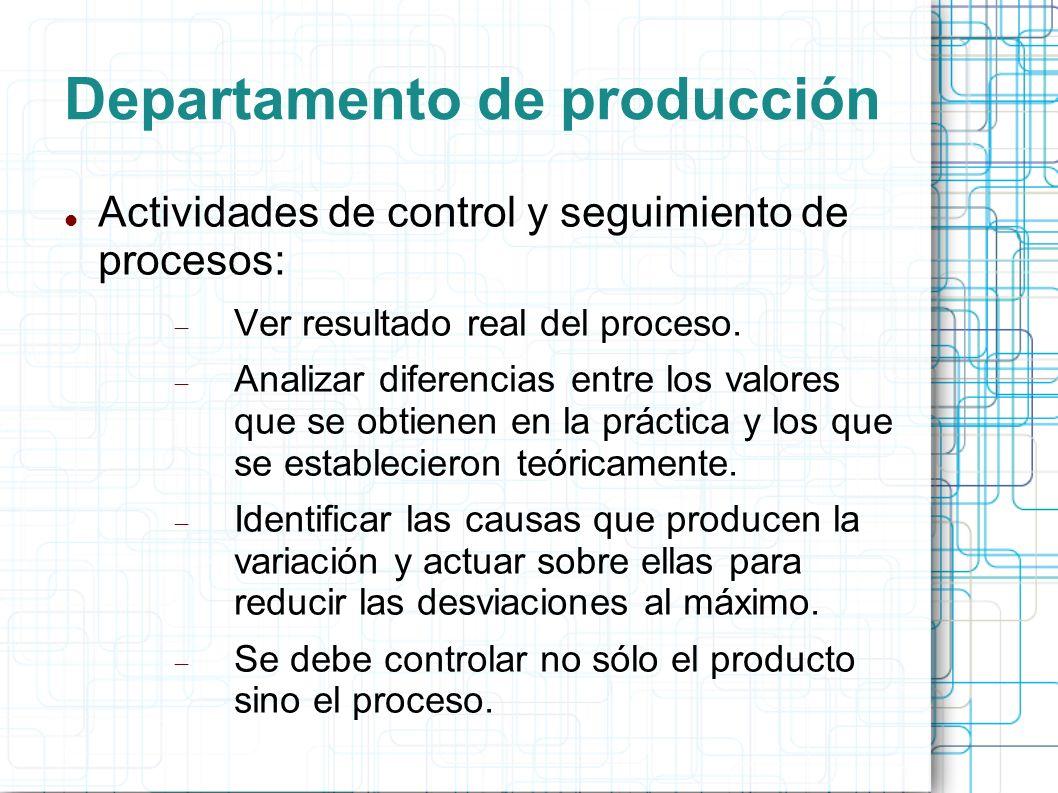 Departamento de producción Actividades de control y seguimiento de procesos: Ver resultado real del proceso.