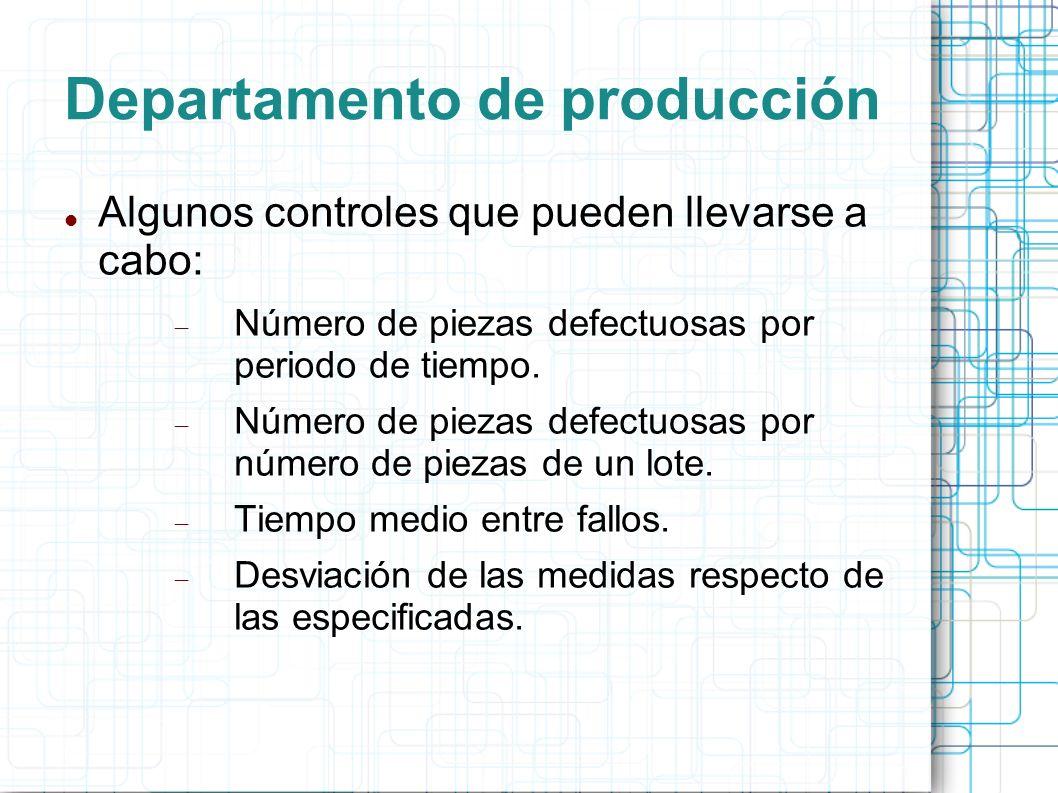 Departamento de producción Algunos controles que pueden llevarse a cabo: Número de piezas defectuosas por periodo de tiempo.