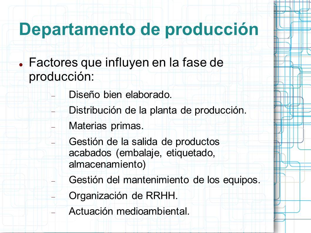 Departamento de producción Factores que influyen en la fase de producción: Diseño bien elaborado.