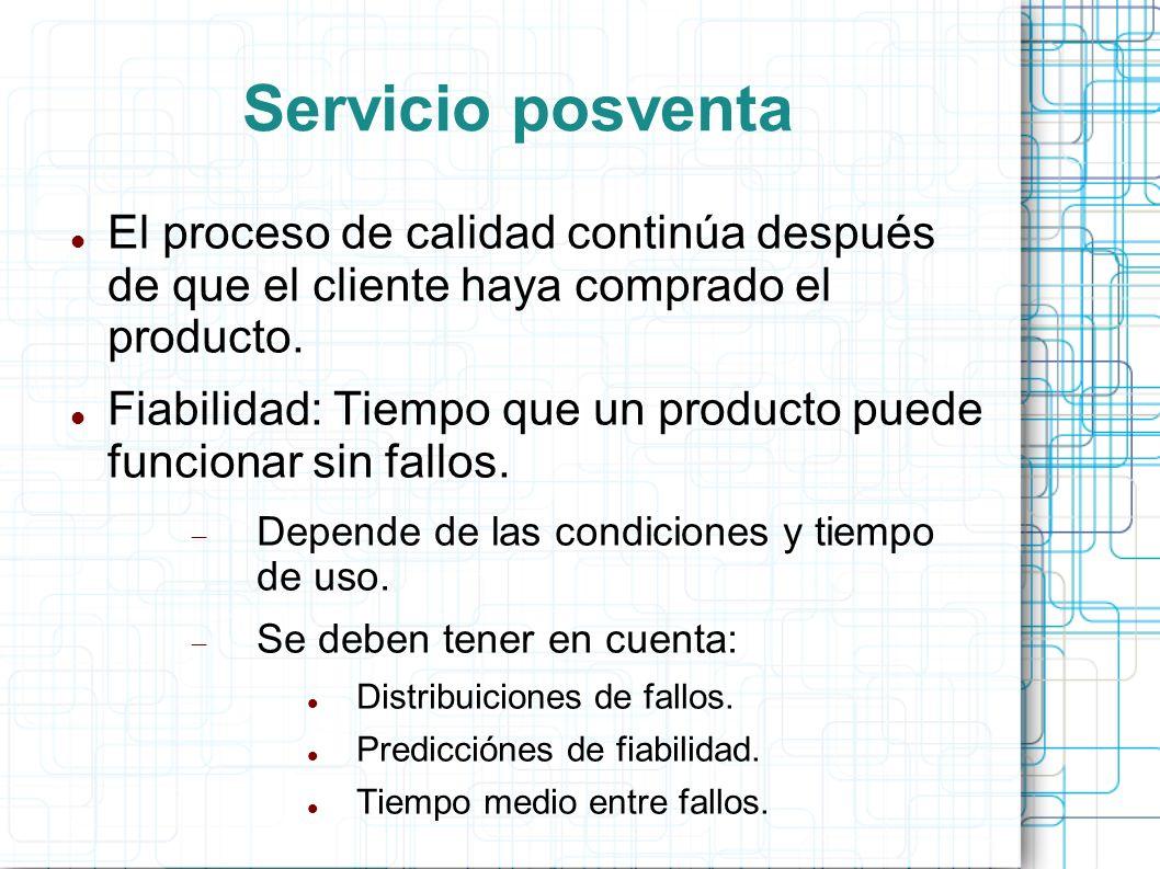 Servicio posventa El proceso de calidad continúa después de que el cliente haya comprado el producto.