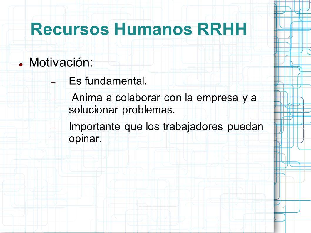 Recursos Humanos RRHH Motivación: Es fundamental.