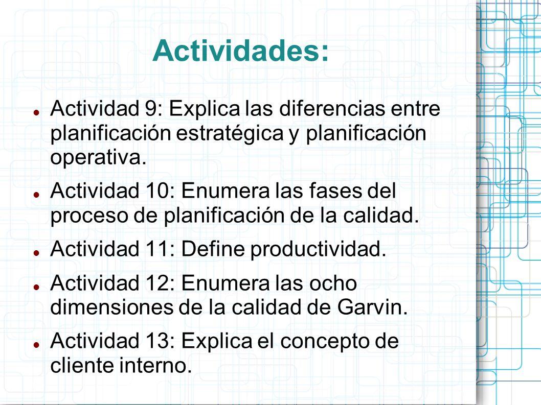 Actividades: Actividad 9: Explica las diferencias entre planificación estratégica y planificación operativa.