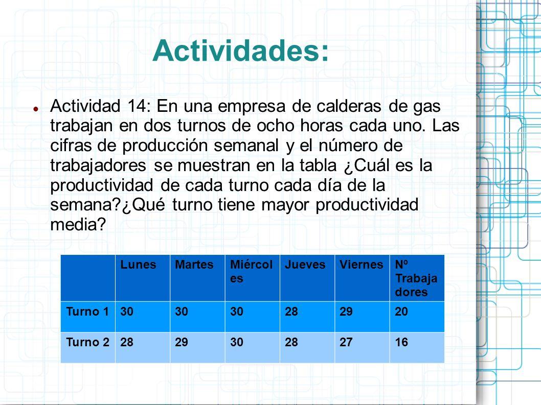 Actividades: Actividad 14: En una empresa de calderas de gas trabajan en dos turnos de ocho horas cada uno.