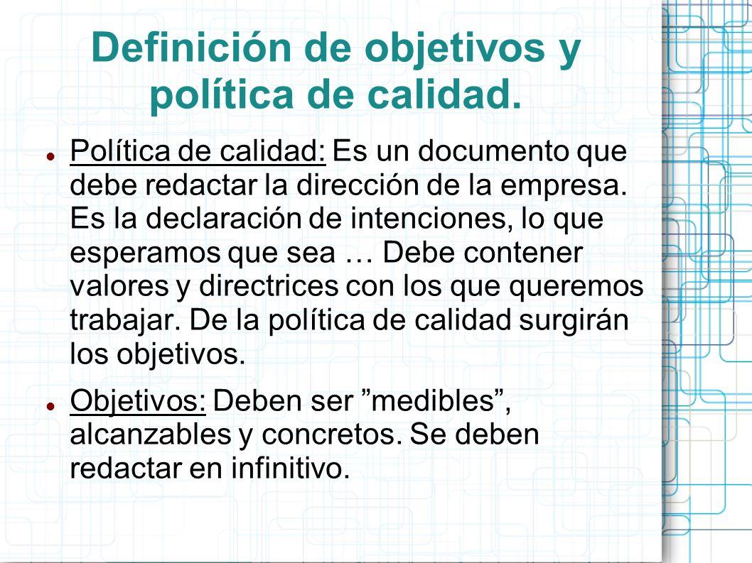 Definición de objetivos y política de calidad.